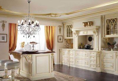 Цвет кухни Слоновая кость с золотой патиной